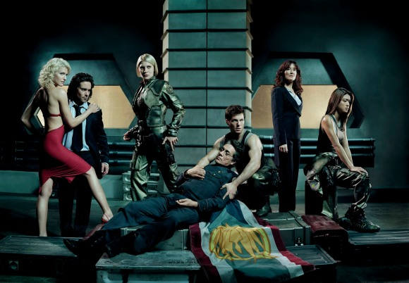 Talent Names - (l-r) Tricia Helfer, James Callis, Katee Sackhoff, Edward James Olmos, Jamie Bamber, Mary McDonnell, Grace Park